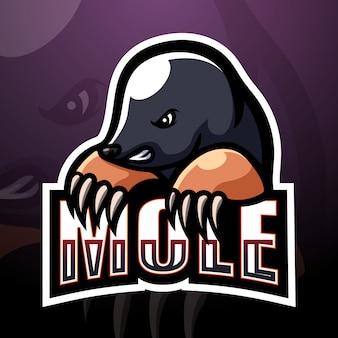 Maulwurf maskottchen esport logo illustration