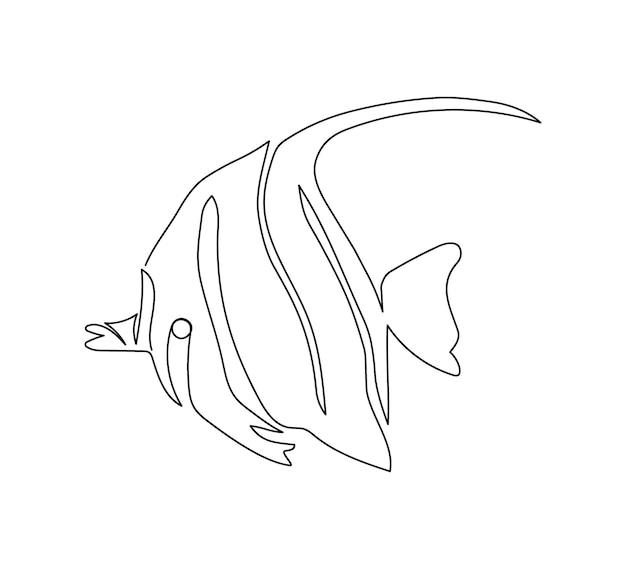 Maurisches idol, zanclus cornutus kontinuierliche strichzeichnung. eine strichzeichnung von rifffischen, meeresfrüchten.