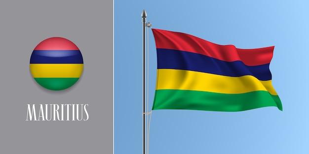 Mauritius weht flagge auf fahnenmast und runde symbolillustration.