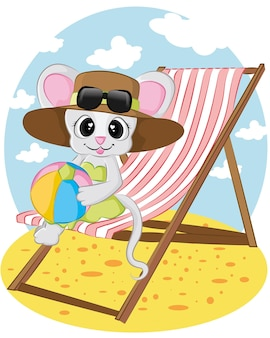 Maus am strand mit ball