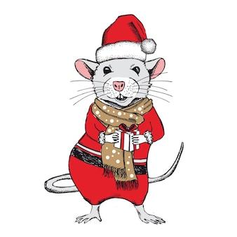 Maus hält eine geschenkhand gezeichnete illustration neujahrskarte