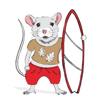 Maus hält eine gezeichnete illustration des surfbretts neujahrskarte