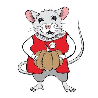 Maus hält einen kürbis halloween