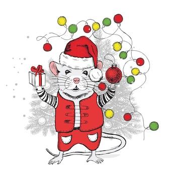 Maus handgezeichnete illustration neujahrskarte