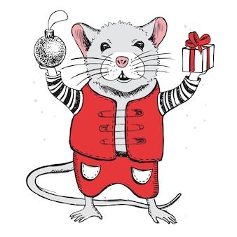 Maus handgezeichnete illustration weihnachtskarte neujahrskarte