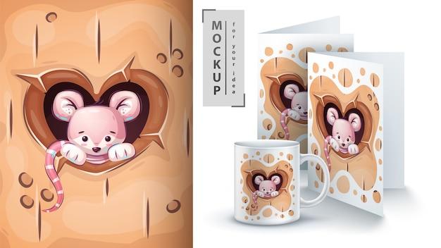 Maus im herzloch. plakat und merchandising