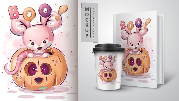 Maus im kürbis - plakat und merchandising.