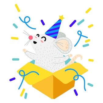 Maus in geschenkbox-cartoon-vektor-illustration. weihnachtslustige rattenpostkarte