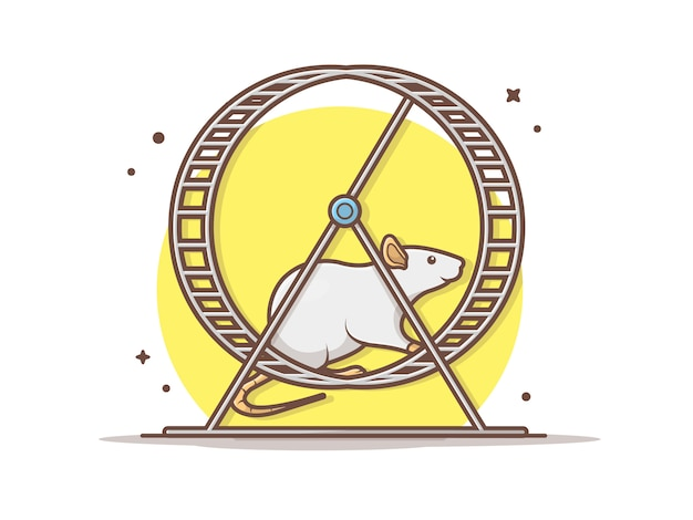 Maus laufen in übungs-rad-vektor-ikonen-illustration. maus und übungs-rad, tierikonen-konzept