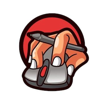 Maus mit handillustrations-logo computerpersonal