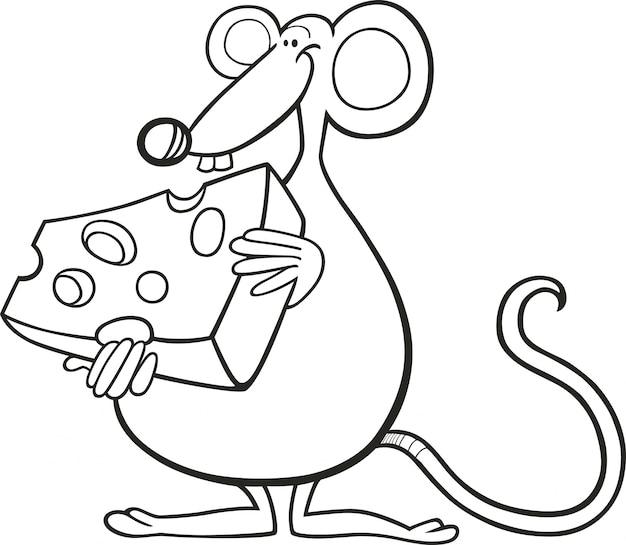 Maus mit käse für malbuch