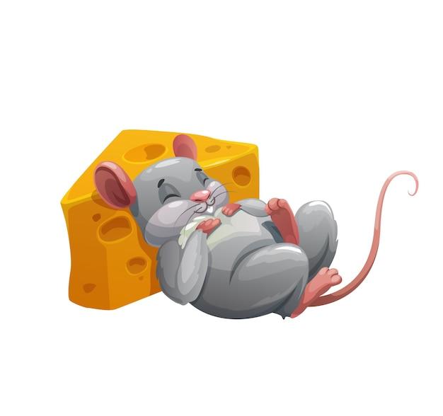 Maus schläft auf käse-cartoon-figur