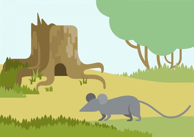 Maus- und bauloch in der flachen karikatur des stumpfs