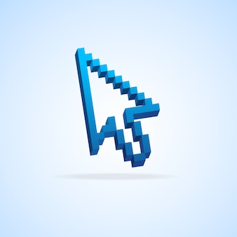 Mauspfeil pixelcursor isoliert auf hellblau