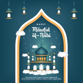 Mawlid al-nabi-banner geburt des propheten mit moschee-hintergrund