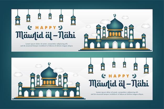 Mawlid al-nabi grußkarte geburt des propheten mit moschee-hintergrund