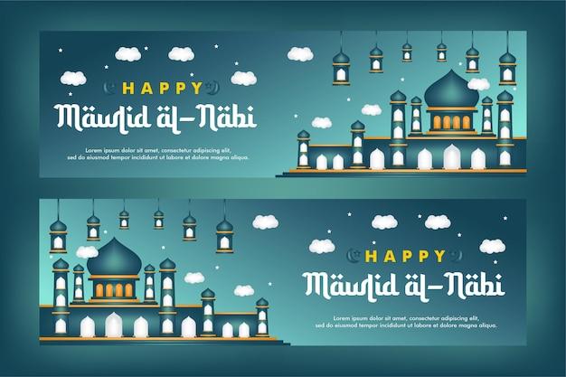 Mawlid al-nabi landing page geburt des propheten mit moschee-hintergrund