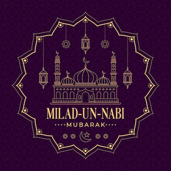 Mawlid islamisches ereignisgrußdesign