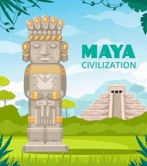 Maya antike zivilisation kultur architektonische denkmäler treppe tempel herrscher gottheit skulptur im freien cartoon zusammensetzung illustration