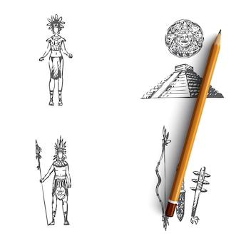 Maya menschen, werkzeuge und pyramidenillustration