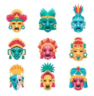 Maya-zivilisations-cartoon-set mit traditionellen masken und zubehör isoliert