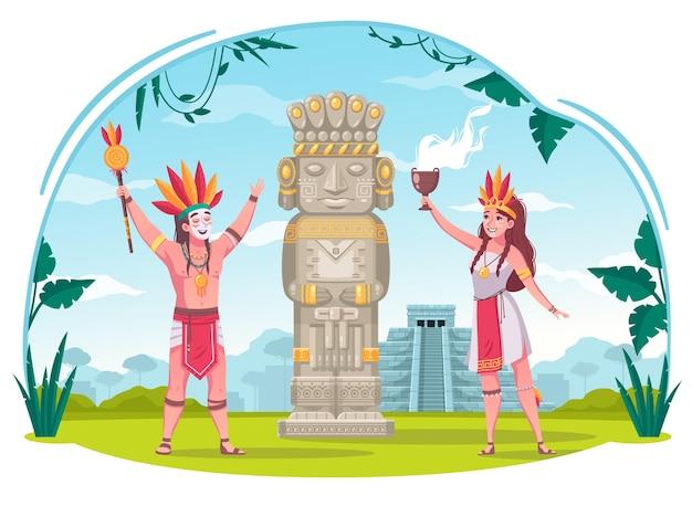 Maya-zivilisationskarikaturkonzept mit illustration der alten kultursymbole