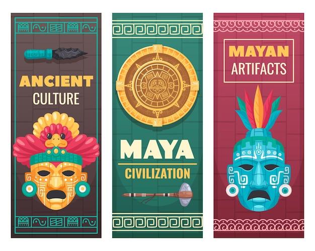 Maya zivilisationskultur banner setzen illustration