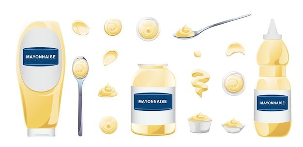 Mayonnaise in schüssel, flasche, flecken und spritzset. gewürz weiße soße-icon-set. draufsicht und vorderansicht-vektor-illustration.
