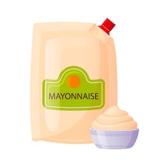 Mayonnaise-sauce in folienpackung mit schüssel tasse. mayo-gewürz, weiße creme im cartoon-stil. fast-food-verpackungsschablone lokalisiert auf weißem hintergrund, illustration.