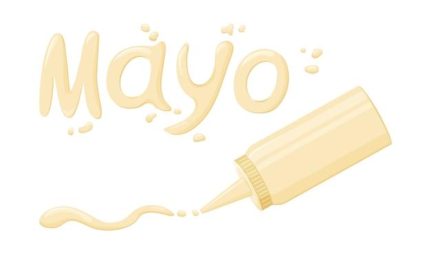 Mayonnaise schrift und tropfen. saucenbeschriftung und plastikflasche.