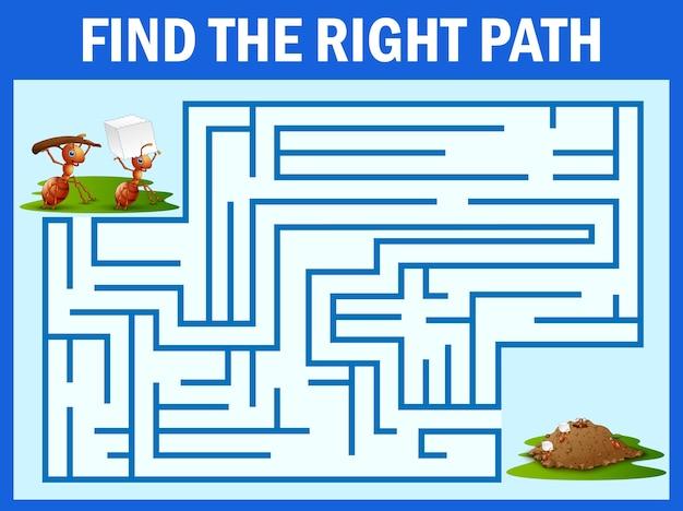 Maze-spiel finde den weg einer ameise zum ameisennest