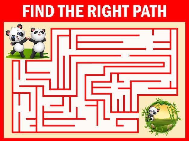 Maze-spiel finde den weg eines pandas zum bambusgarten