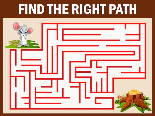 Maze-spiel finden sie eine maus weg zu käse