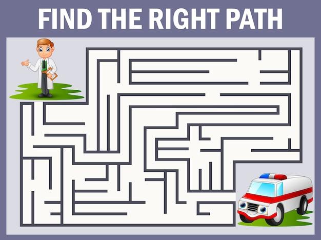 Maze-spiel findet den arzt zum krankenwagen