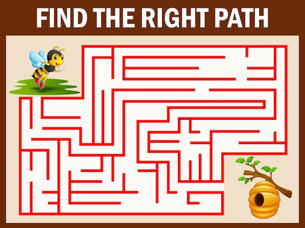 Maze-spiel findet den bienenweg zum bienenstock