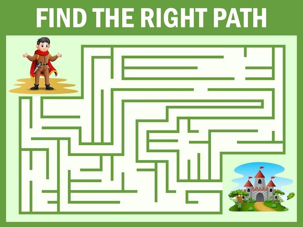 Maze-spiel findet den weg des prinzen zum palast