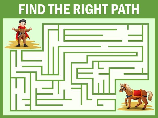Maze-spiel findet den weg des prinzen zum pferd
