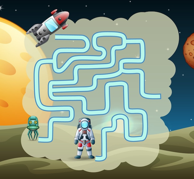 Maze-spiel von astronaut im weltraum