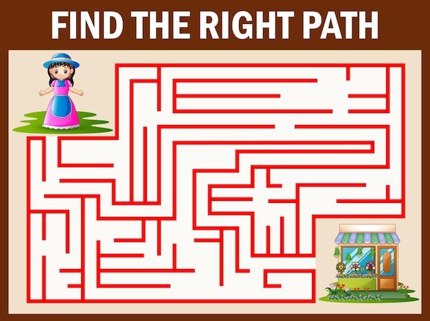 Maze-spiele finden das mädchen auf dem weg zum blumenladen
