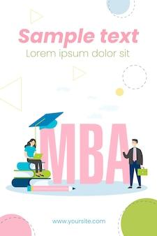 Mba-schüler mit person, die laptop-illustration verwendet