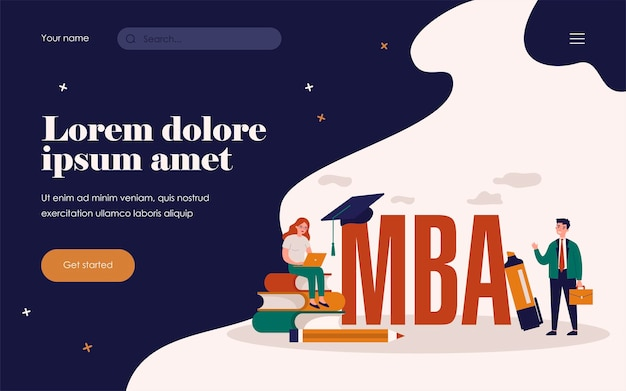 Mba-schüler. person, die laptop auf bücherstapel in der nähe der abschlusskappe verwendet, betriebswirtschaftslehre und management studiert. flache vektorillustration für akademische bildung, wissenskonzept