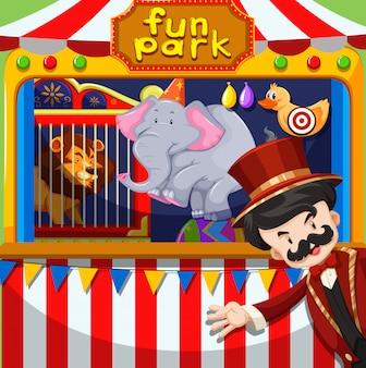 Mc und tierausstellung im zirkus