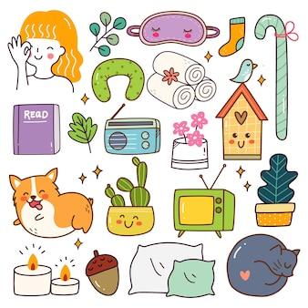 Me time related object kawaii doodle set