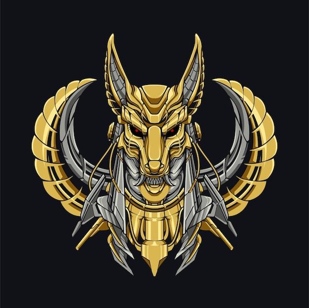 Mecha anubis hund mythologie cyberpunk illustration design roboter gold hund ägyptische mythologie moderne technologie stahl für kleidung und kapuzendesign