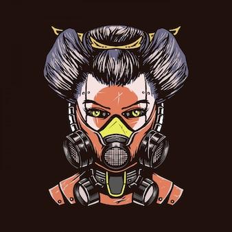 Mecha geisha hand gezeichnete illustration