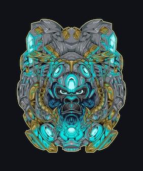 Mecha gorilla cyberpunk illustration gorilla mit beleuchtung shirt-design mit roboter-thema