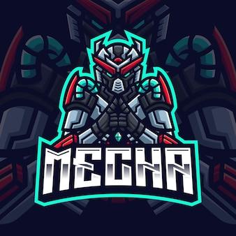 Mecha robot maskottchen gaming logo vorlage für esports streamer facebook youtube