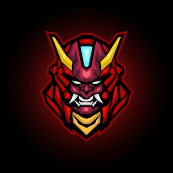 Mecha ronin böse maskottchen logo design, roboterkopf logo