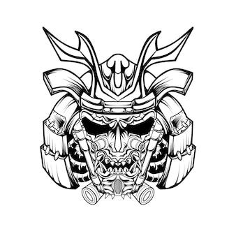 Mecha schädel samurai schwarz und weiß