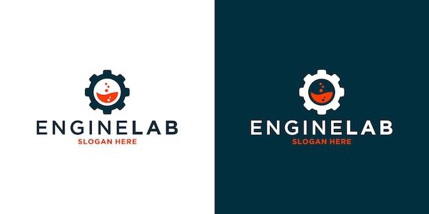 Mechanic engine lab logo-design mit ausrüstung für ihr unternehmen